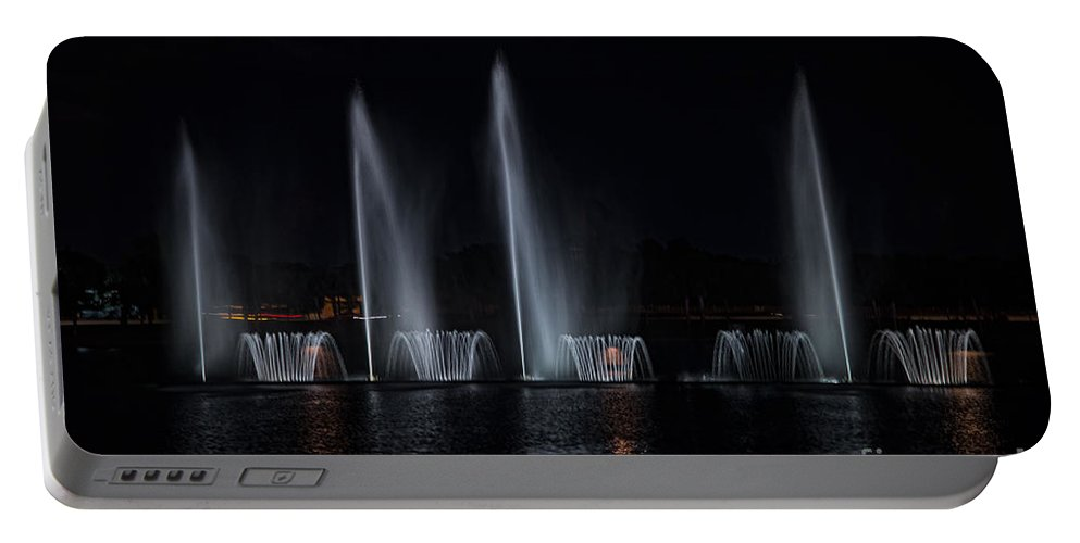 Colored Lights Portable Battery Charger featuring the digital art Lights At Night by Carol Ailles