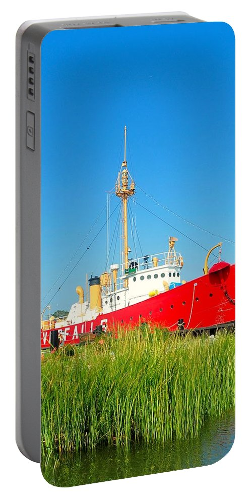 Lighthouse Portable Battery Charger featuring the photograph Lightship Overfalls 2 by Kim Bemis