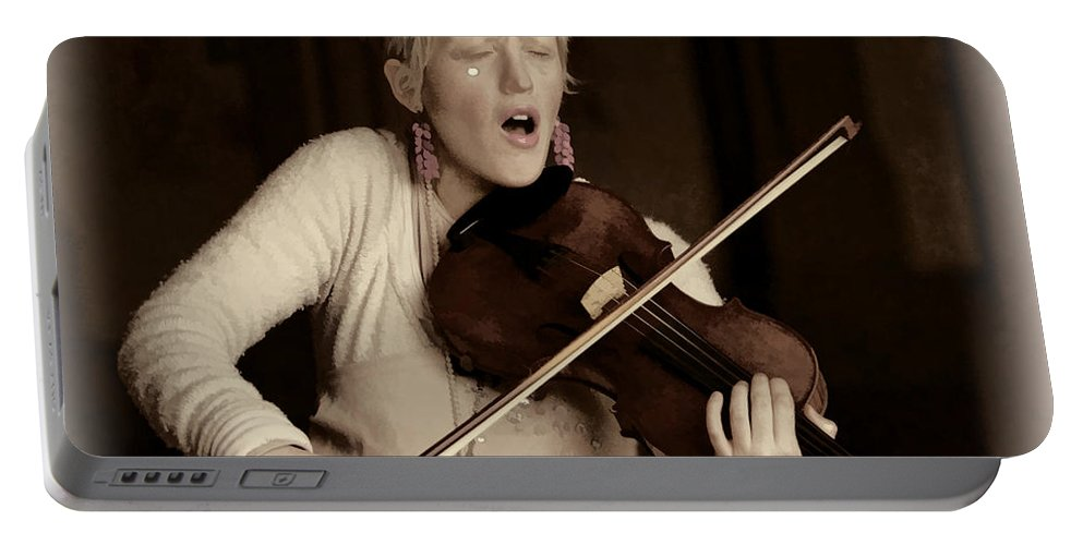 Woman Violin Musician Lila Angelique Tribal Baroque Portable Battery Charger featuring the photograph Lila Angelique Deux by Alice Gipson