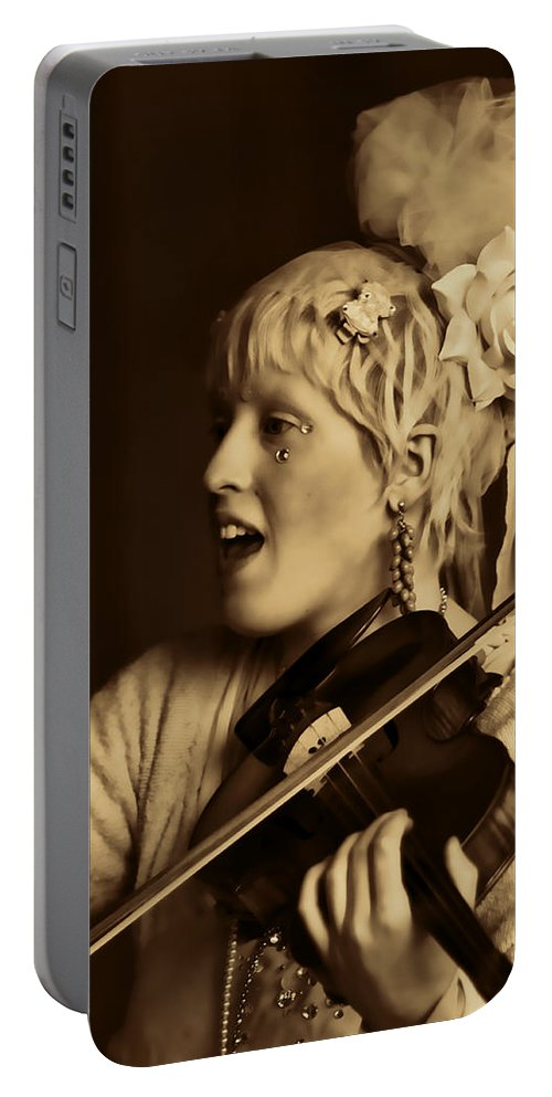 Woman Violinist Lila Angelique Tribal Baroque Portable Battery Charger featuring the photograph Lila Angelique Trois by Alice Gipson