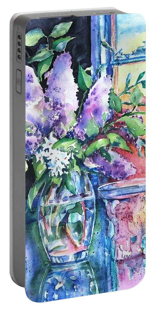 Lilacs Portable Battery Charger featuring the painting Lilac Light by Trudi Doyle
