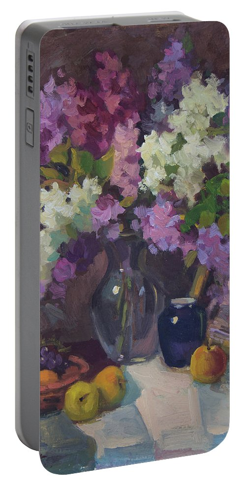 Lilacs Portable Battery Charger featuring the painting Lilacs And Blue Vase by Diane McClary