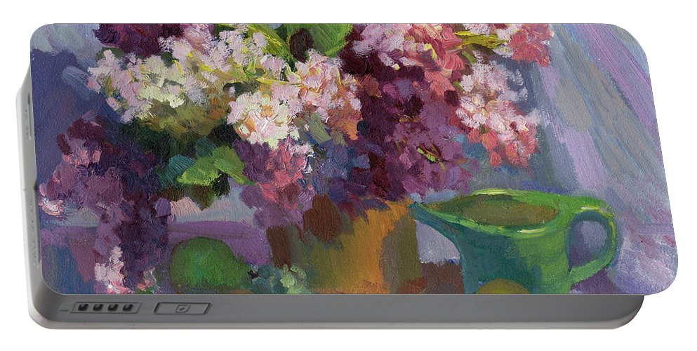 Lilacs And Pears Portable Battery Charger featuring the painting Lilacs And Pears by Diane McClary