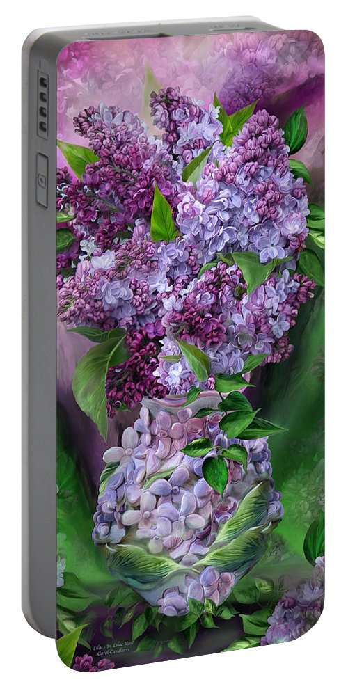 Lilac Portable Battery Charger featuring the mixed media Lilacs In Lilac Vase by Carol Cavalaris