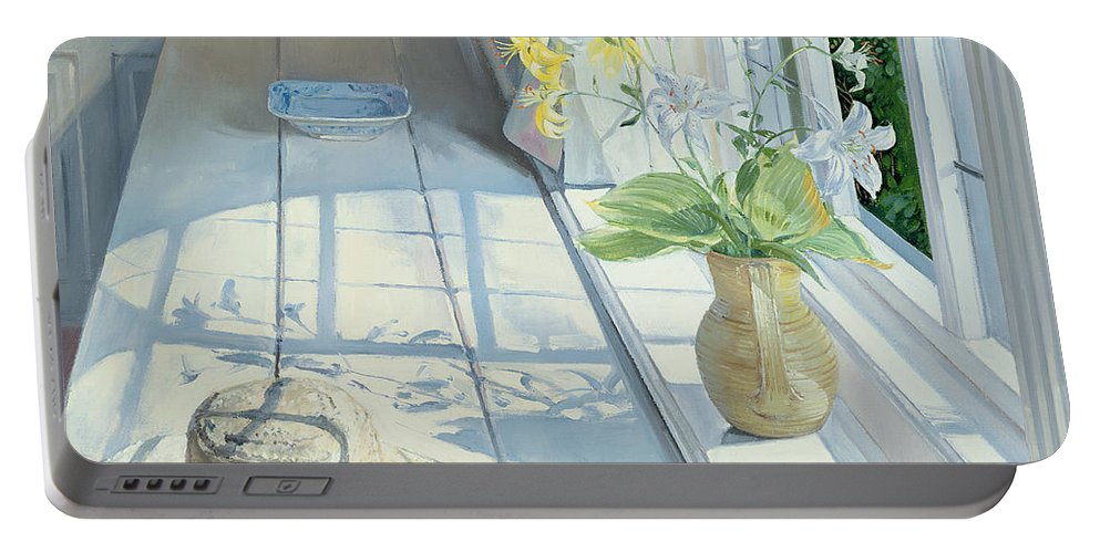 Window Portable Battery Charger featuring the painting Lilies And A Straw Hat by Timothy Easton