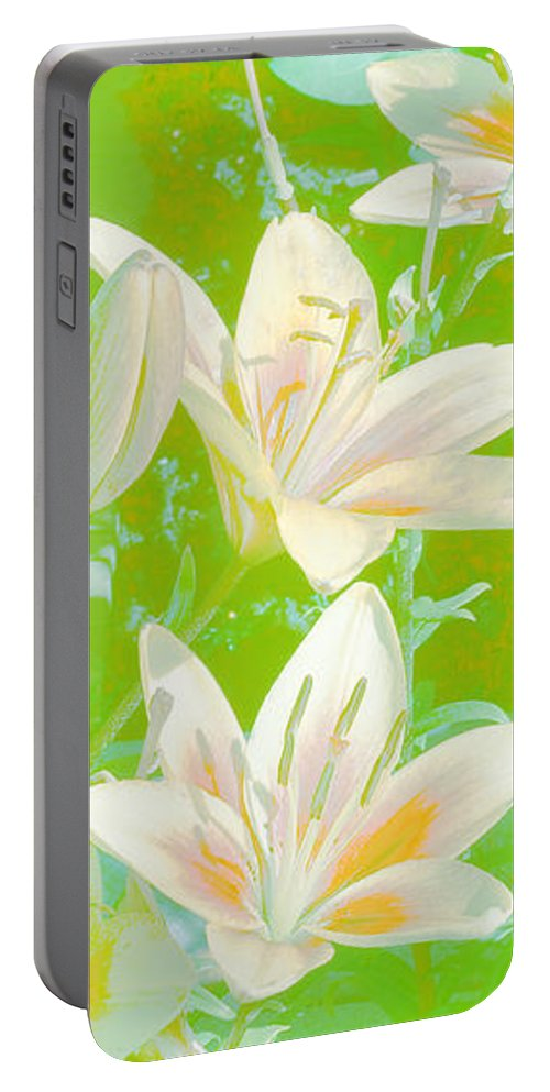White Lilies Portable Battery Charger featuring the digital art Lilies Greeting Card by Sandra Foster
