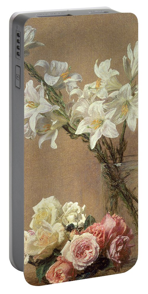 1888 Portable Battery Charger featuring the painting Lilies In A Vase by Ignace Henri Jean Fantin-Latour