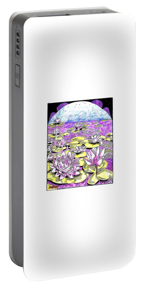 Lilies Of The Lake Portable Battery Charger featuring the drawing Lilies of the Lake by Seth Weaver