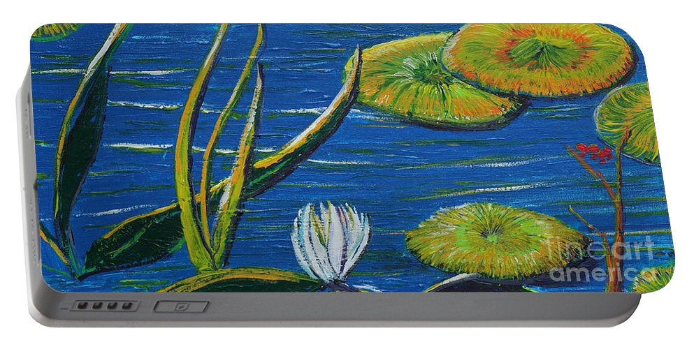 Landscape Portable Battery Charger featuring the painting Lilly Pads by Stefan Duncan