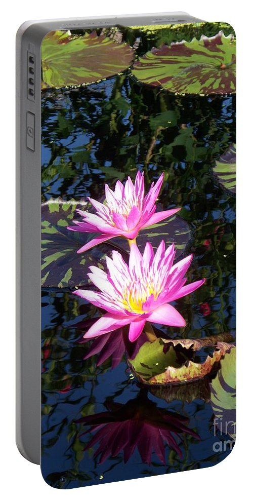 Lily Portable Battery Charger featuring the painting Lily Monet by Eric Schiabor