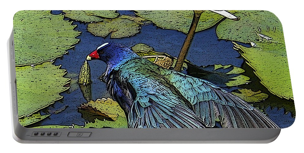 #lily #exoticbird #puntacana #dominicanrepublic #nature Portable Battery Charger featuring the digital art Lily Pad With Bird by Jacquelinemari
