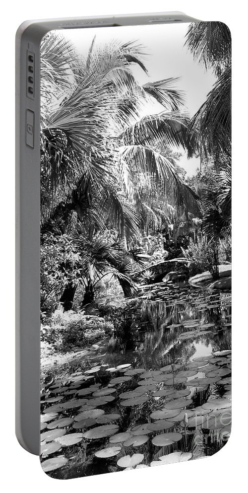 Tropical Portable Battery Charger featuring the photograph Lily Pond Bw by Anita Lewis
