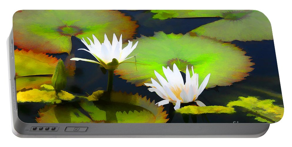 Artistic Photography Portable Battery Charger featuring the photograph Lily Pond Bristol Rhode Island by Tom Prendergast
