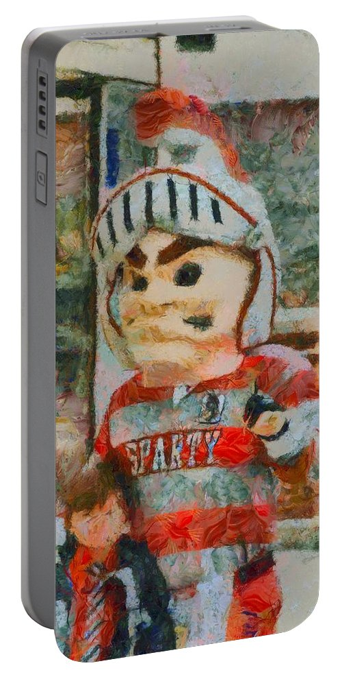 Lima Senior Mascot Portable Battery Charger featuring the painting Lima Senior Mascot by Dan Sproul