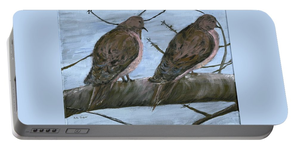 Mourning Doves Portable Battery Charger featuring the painting Limbirds by Alice Faber