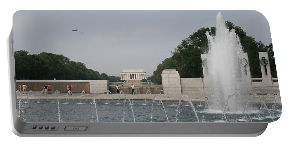 Fountain Portable Battery Charger featuring the photograph Lincoln Memorial And Fountain - Washington Dc by Christiane Schulze Art And Photography