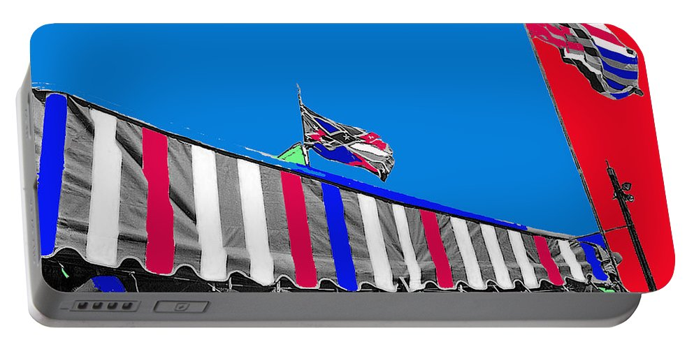 Line Of Hats Tent Us Confederate Flags Tucson Arizona 1984 Color Added Portable Battery Charger featuring the photograph Line Of Hats Tent Us Confederate Flags Tucson Arizona 1984-2012 by David Lee Guss