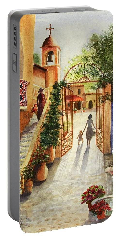Tlaquepaque Portable Battery Charger featuring the painting Lingering Spirit-sedona by Marilyn Smith
