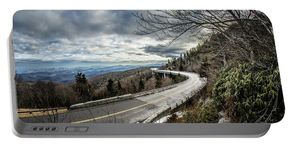 Road Portable Battery Charger featuring the photograph Linn Cove Viaduct During Winter Near Blowing Rock Nc by Alex Grichenko
