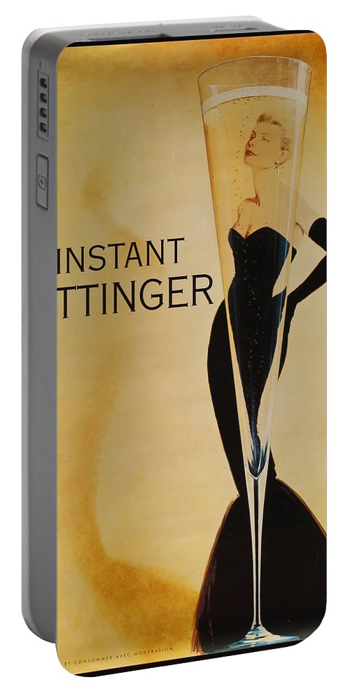 L'instant Taittanger Portable Battery Charger featuring the digital art L'Instant Taittinger by Georgia Fowler