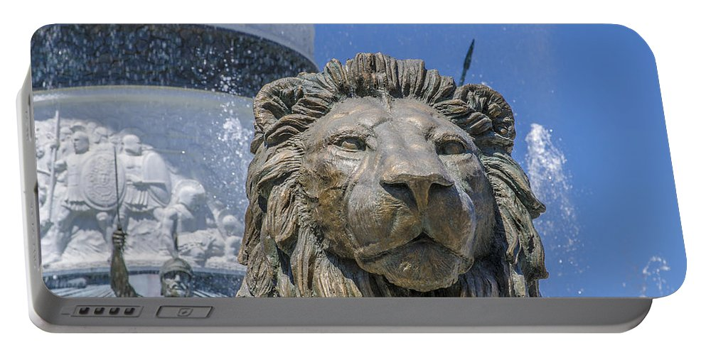 Statue Photographs Portable Battery Charger featuring the photograph Lion Guardian by Sotiris Filippou