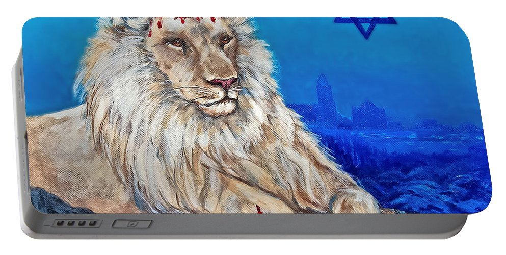 Lion Portable Battery Charger featuring the painting Lion Of Judah Before Jeruselum by Bob and Nadine Johnston