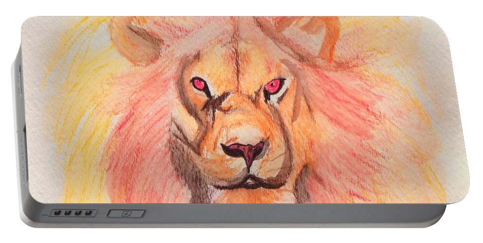 Lion Portable Battery Charger featuring the painting Lion Orange by First Star Art
