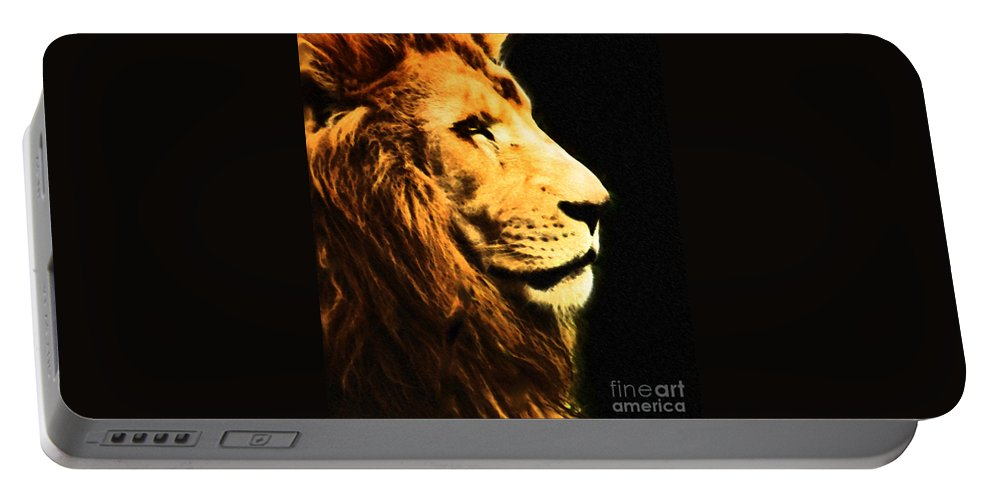 Animals Portable Battery Charger featuring the photograph Lion Paint 2 by Ben Yassa