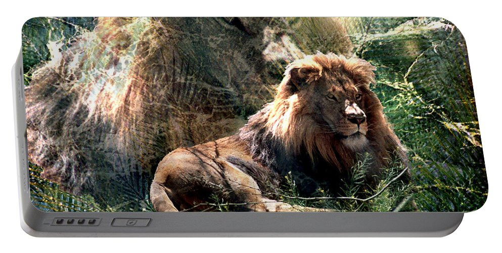 Lion Portable Battery Charger featuring the digital art Lion Spirit by Lisa Yount