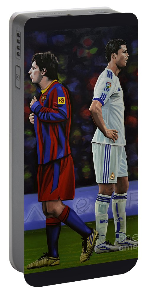 Lionel Messi Portable Battery Charger featuring the painting Lionel Messi and Cristiano Ronaldo by Paul Meijering