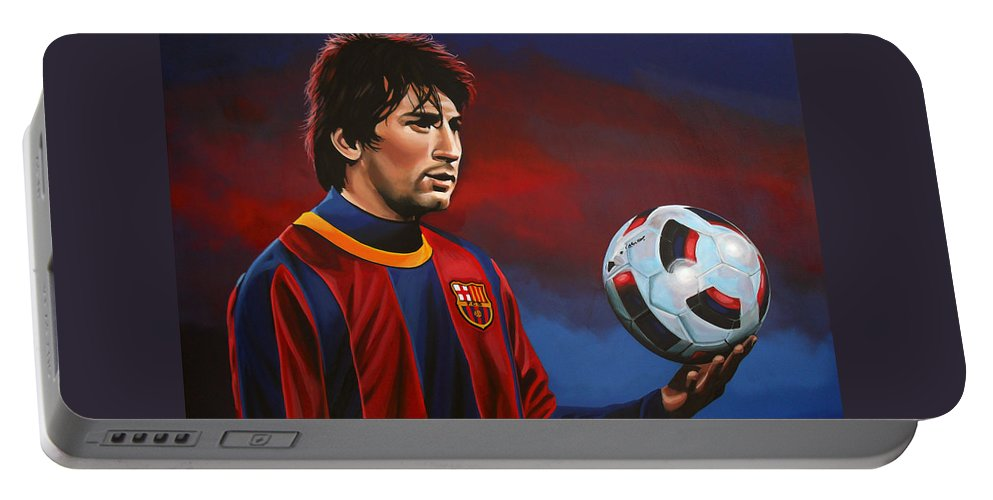 Lionel Messi Portable Battery Charger featuring the painting Lionel Messi 2 by Paul Meijering