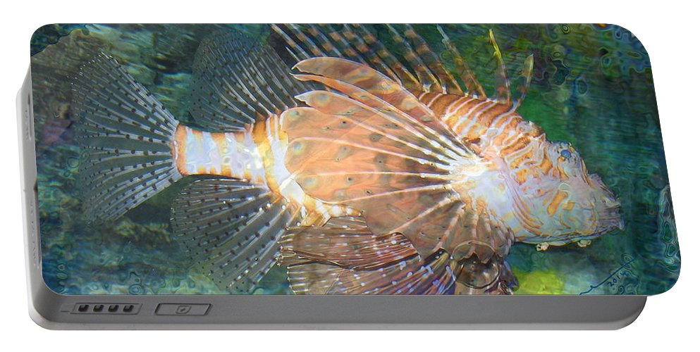 Reef Portable Battery Charger featuring the photograph Lionfish by Kume Bryant