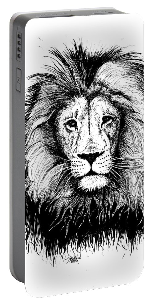 Lion Portable Battery Charger featuring the drawing Lionking by Petra Stephens