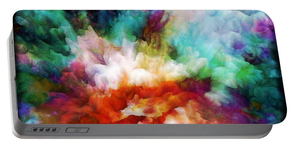 Abstract Portable Battery Charger featuring the painting Liquid Colors - Original by Lilia D