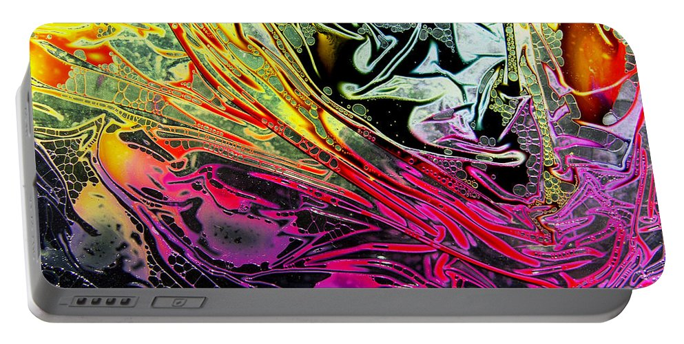 Surrealism Portable Battery Charger featuring the digital art Liquid Decalcomaniac Desires 1 by Otto Rapp