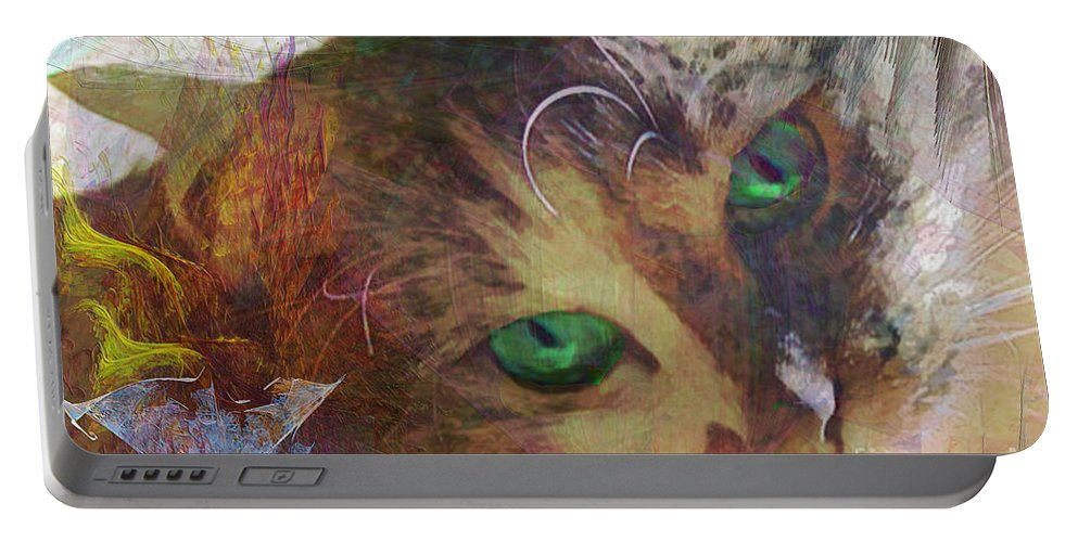 Cat Portable Battery Charger featuring the digital art Lisa Beckons - Square Version by John Beck
