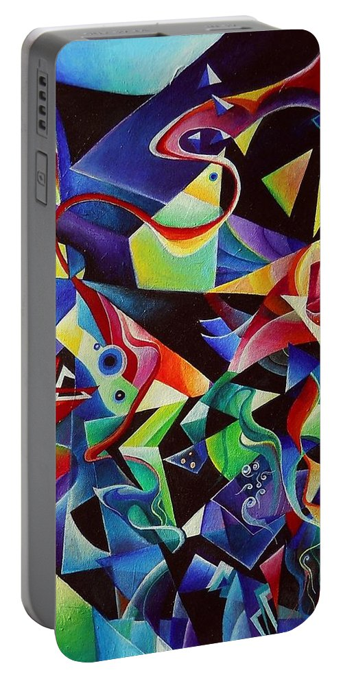 Arnold Schoenberg Piano Concert No.1 Acrylic Abstract Pens Music Portable Battery Charger featuring the painting listening to piano concert op.42 of Arnold Schoenberg by Wolfgang Schweizer