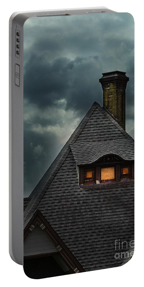 House Portable Battery Charger featuring the photograph Lit Attic Window by Jill Battaglia