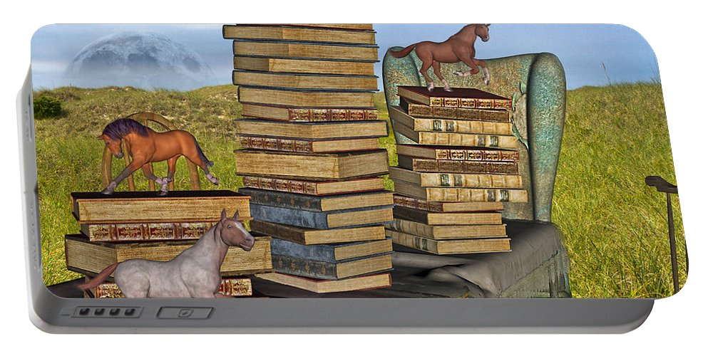 Library Portable Battery Charger featuring the mixed media Literary Levels by Betsy Knapp