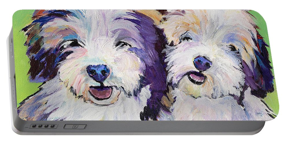 Pat Saunders-white Paintings Portable Battery Charger featuring the painting Litter Mates by Pat Saunders-White