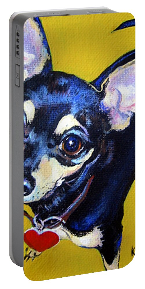 Chihuahua Portable Battery Charger featuring the painting Little Bitty Chihuahua by Rebecca Korpita