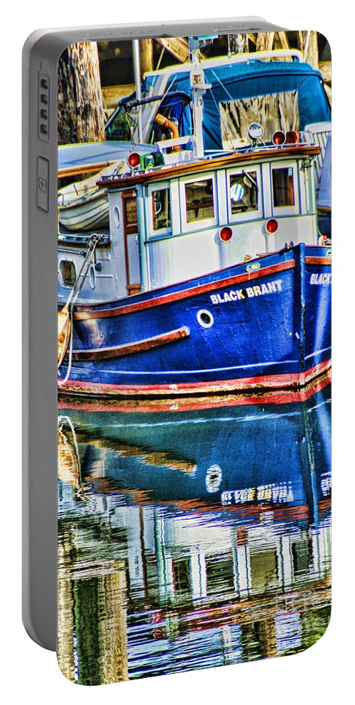 Boats Portable Battery Charger featuring the photograph Little Blue Boat Hdr by Randy Harris