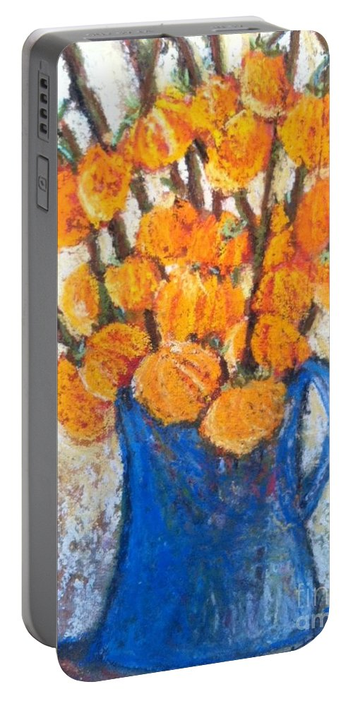 Original Oil Painting Portable Battery Charger featuring the pastel Little Blue Jug by Sherry Harradence