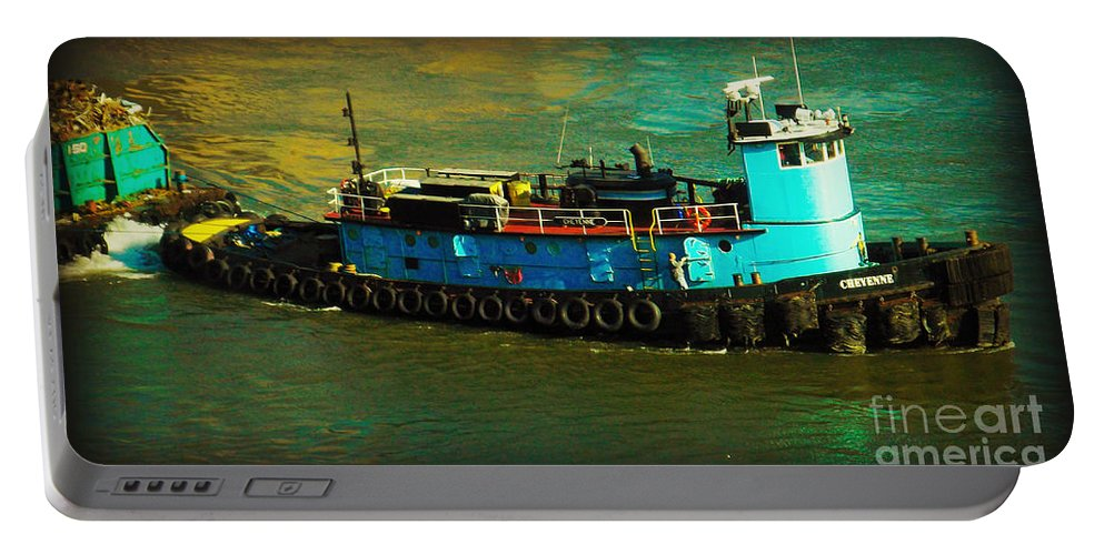 Urban Landscape Portable Battery Charger featuring the photograph Little Blue Tug - New York City by Miriam Danar