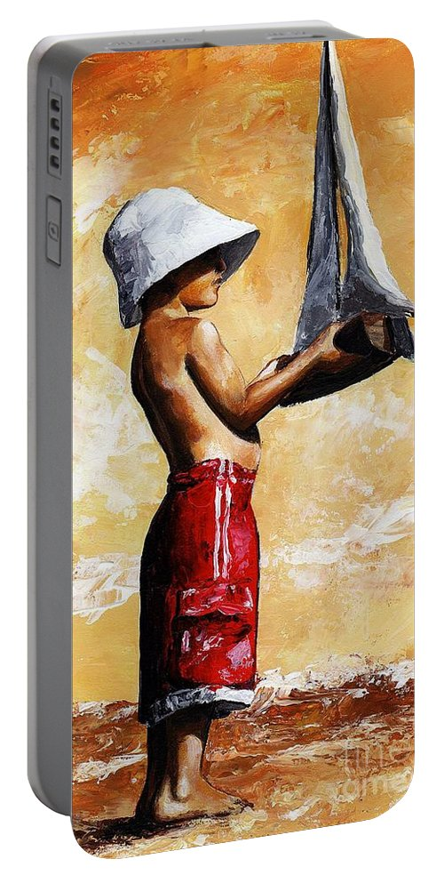 Little Boy Portable Battery Charger featuring the painting Little Boy In The Beach by Emerico Imre Toth