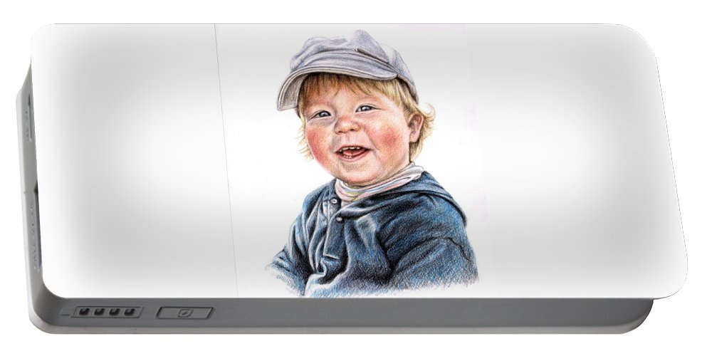 Boy Portable Battery Charger featuring the drawing Little Boy by Nicole Zeug