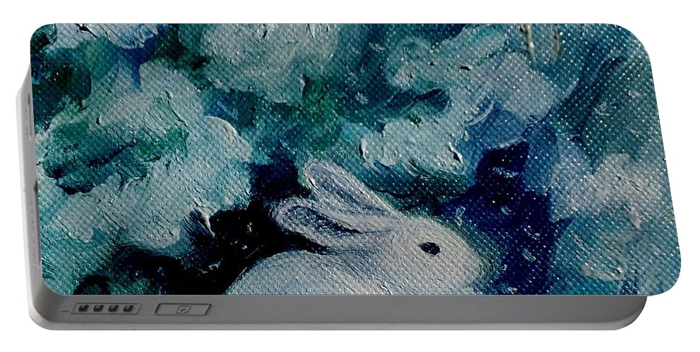 Bunny Portable Battery Charger featuring the painting Little Bunny Foo Foo by Julie Brugh Riffey