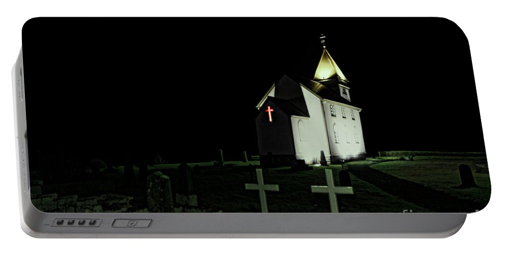 Cemetery Portable Battery Charger featuring the photograph Little Church At Night by Jasna Buncic