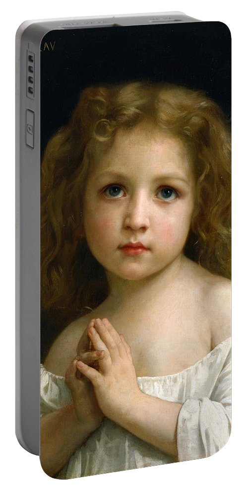 William-adolphe Bouguereau Portable Battery Charger featuring the painting Little Girl by William-Adolphe Bouguereau