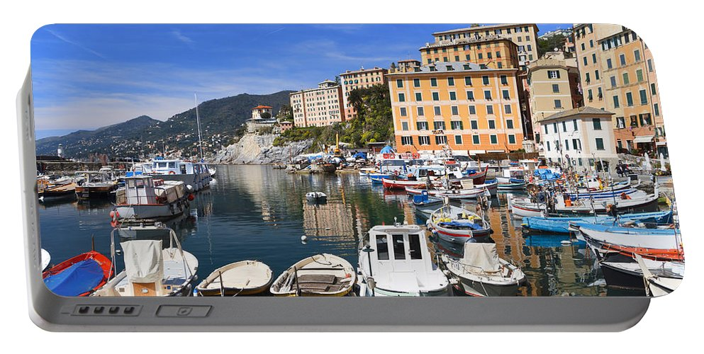Blue Portable Battery Charger featuring the photograph little harbor in Camogli by Antonio Scarpi